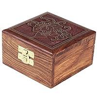 ムガール帝国インスピレーションを得た真鍮のインレイのホームインテリアアンティークボックスとインドギフト装飾ボックス手彫りローズウッド素材小物ジュエリーボックス