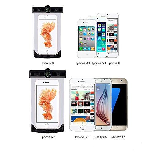 2点セット CRONA スマホ 防水ケース 最高IPX8 防水携帯ケース アームバンド ネックストラップ付 防災 iPhone 6/6S Plus/Sony Xperia/Nexus/AQUOSなど対応 24ケ月保証