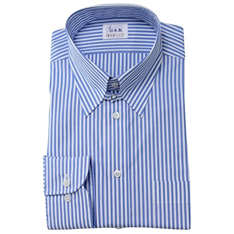 アナニバー虚偽緑ワイシャツ メンズ長袖(ドレスシャツ)タブカラー ブルー 80番手双糸 軽井沢シャツ [A10KZZT27]