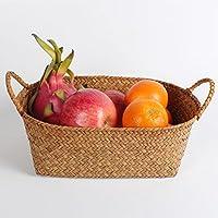 QIN かごバスケット 籐風 収納バスケット果物 カラー編み 天然素材 果物 野菜 お菓子 雑貨 コーヒー色