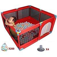 ボールを持つポータブルベビープレイペン子供の子供はペンルームを折ったデビッドオックスフォードクロス8サイドパネルを再生 (色 : 200 Balls)