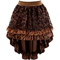 Killreal Women's Burlesque Satin Ruffles High-low Dancing Party Skirt