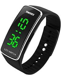 SKMEI スポーツウォッチ メンズ 防水 LEDバックライト ストップウォッチ アウトドア腕時計 アクセサリー ギフト 個性 男女共用 簡潔 ブラック+銀色