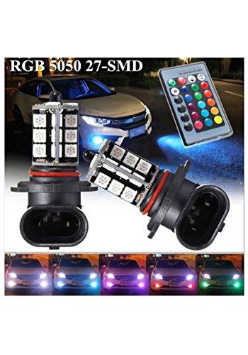 『HB4 9006 LED フォグ ランプ RGB マルチカラー(レッド ブルー グリーン イエロー ピンク パープル) 5050SMD 27チップ 16色切替 点灯パターン多数 2個セット リモコン付き イベント用 (HB4)』のトップ画像