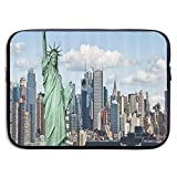 New York Statue of Liberty in NYC 13-15 Inch Laptop Sleeve Bag - Tablet Clutch Carrying Case,Water Resistant, Black-15Inch