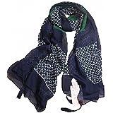 (ベアーフルート) bear-fruit 大判 ストール スカーフ ショール UV シフォン ロング 紺 緑 フリンジ レディース メンズ
