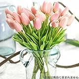 造花 アートフラワー インテリア造花 枯れない花 チューリップ 造花チューリップ(12本) シルク製 プレゼント 造花ブケ お祝い 結婚式ブケ バレンタインギフト 誕生日 母の日 (ピンク)