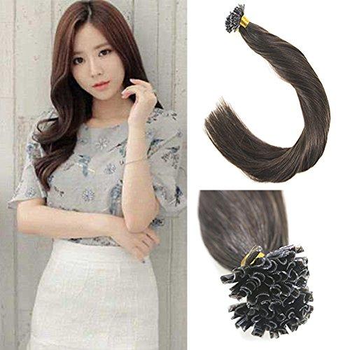Sunny Hair(サニーヘア) 超音波エクステ 60cm 高品質人毛100% 部分かつら ナチュラルさを大事に! 欧米で大人気エクステ ストレートロング 50本セット 50g (1本あたり0.5g) #2ダックブラウン