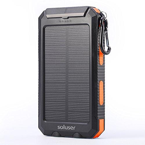 Soluser ソーラーバッテリー 10000mAh 充電器 ポータブルモバ...
