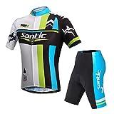 【サンティック】Santic メンズ サイクルジャージ 半袖 上下セット 自転車ウェア サイクリング 4Dパッド付き フィット感 XXL