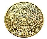 マヤ文明 神秘 の アステカ カレンダー コイン 直径 40mm 開運 風水 ( ゴールド )