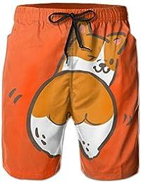 かわいいコーギー メンズ サーフパンツ 水陸両用 水着 海パン ビーチパンツ 短パン ショーツ ショートパンツ 大きいサイズ ハワイ風 アロハ 大人気 おしゃれ 通気 速乾