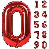 Angel&tribe 番号 0-9 誕生日 パーティー 装飾 ヘリウム 箔 マイラー 大きい 番号 バルーン 40インチ レッド 番号0