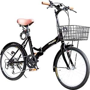 折りたたみ自転車 20インチ P-008 カゴ・フロントLEDライト・ワイヤーロック錠付き シマノ6段変速ギア 折り畳み自転車 小径車 ミニベロ PL保険加入 (01ブラック)