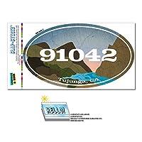 91042 タハンガ, CA - 川岩 - 楕円形郵便番号ステッカー