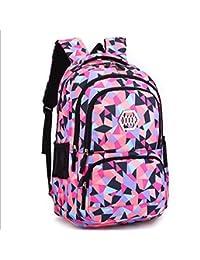 女子学生のための幾何学的なスクールバッグ子供のためのバックパックショルダーバッグブックバッグティーンズバックパック ( Color : Black )