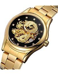 aa39fc08e6 BesTn出品 腕時計 メンズ 自動巻き ドラゴン 龍 スケルトン ダイヤモンド 防水 夜光 ステンレスバンド ゴールド