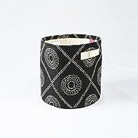 Storage basket, cotton canvas fabric, hamong print, black and white, storage basket, laundry basket, sizes available (10x10)