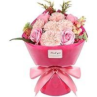 フラワーソープ 石鹸花束(32 * 20 * 12.5cm) バラ カーネーション プレゼント ギフト 母の日 お誕生日 記念日 結婚お祝い ボックス入り カード付き(ピンク)