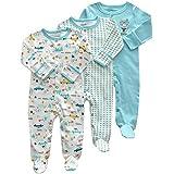 Fairy Baby 新生児服 足つきカバーオールロンパース インナー 長袖 3枚セット 出産祝い 男の子 女の子 size 3-6M (ブルー系)