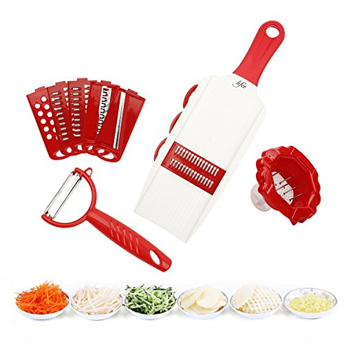 スライサー 6機能 安全ホルダー付き 切れ味よい スライス 千切り おろし ピーラー 野菜カッター 調理器セット キッチン用品 レッド