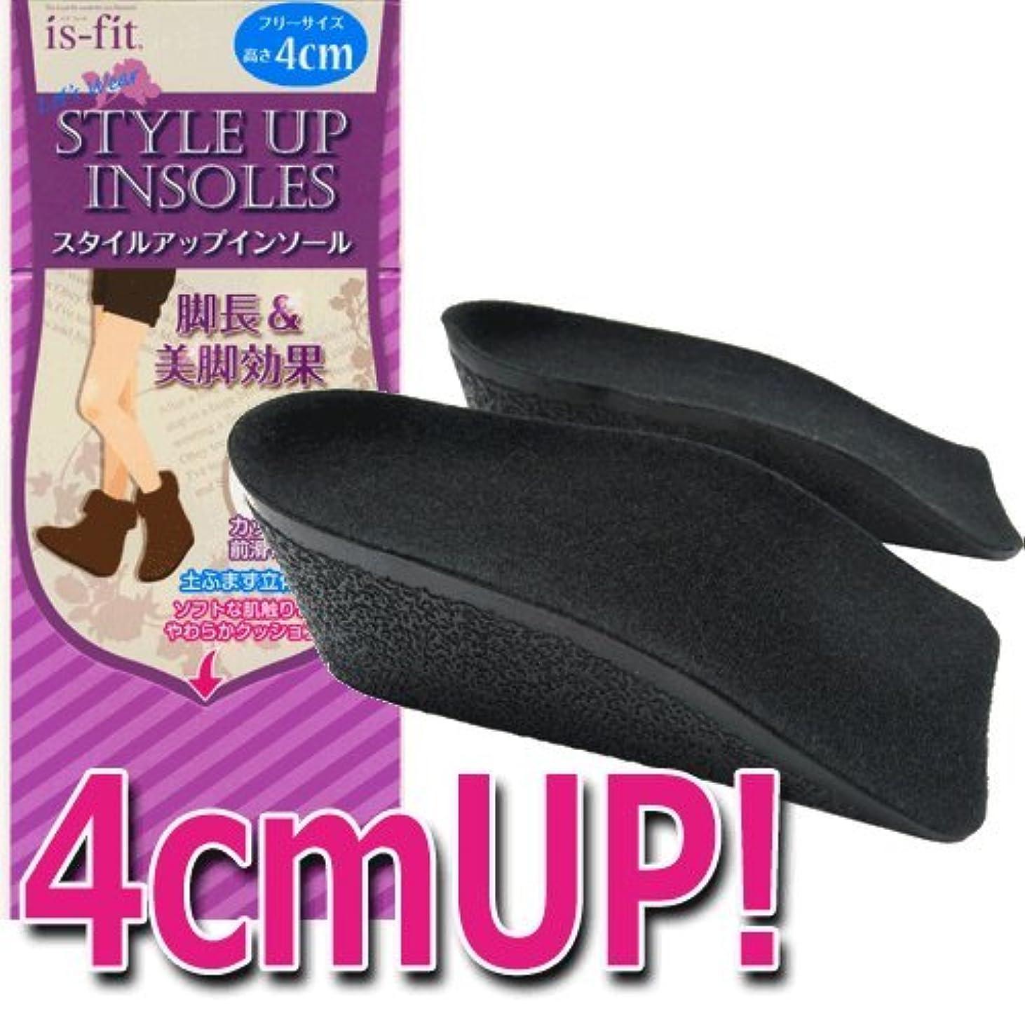 ディレイディレイ敏感なモリト is-fit(イズフィット) スタイルアップインソール 4cm 女性用 フリーサイズ ブラック