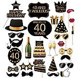 40歳の誕生日写真ブース 小道具 - 40歳の誕生日 写真ブース小道具 男性と女性 - 32ピース