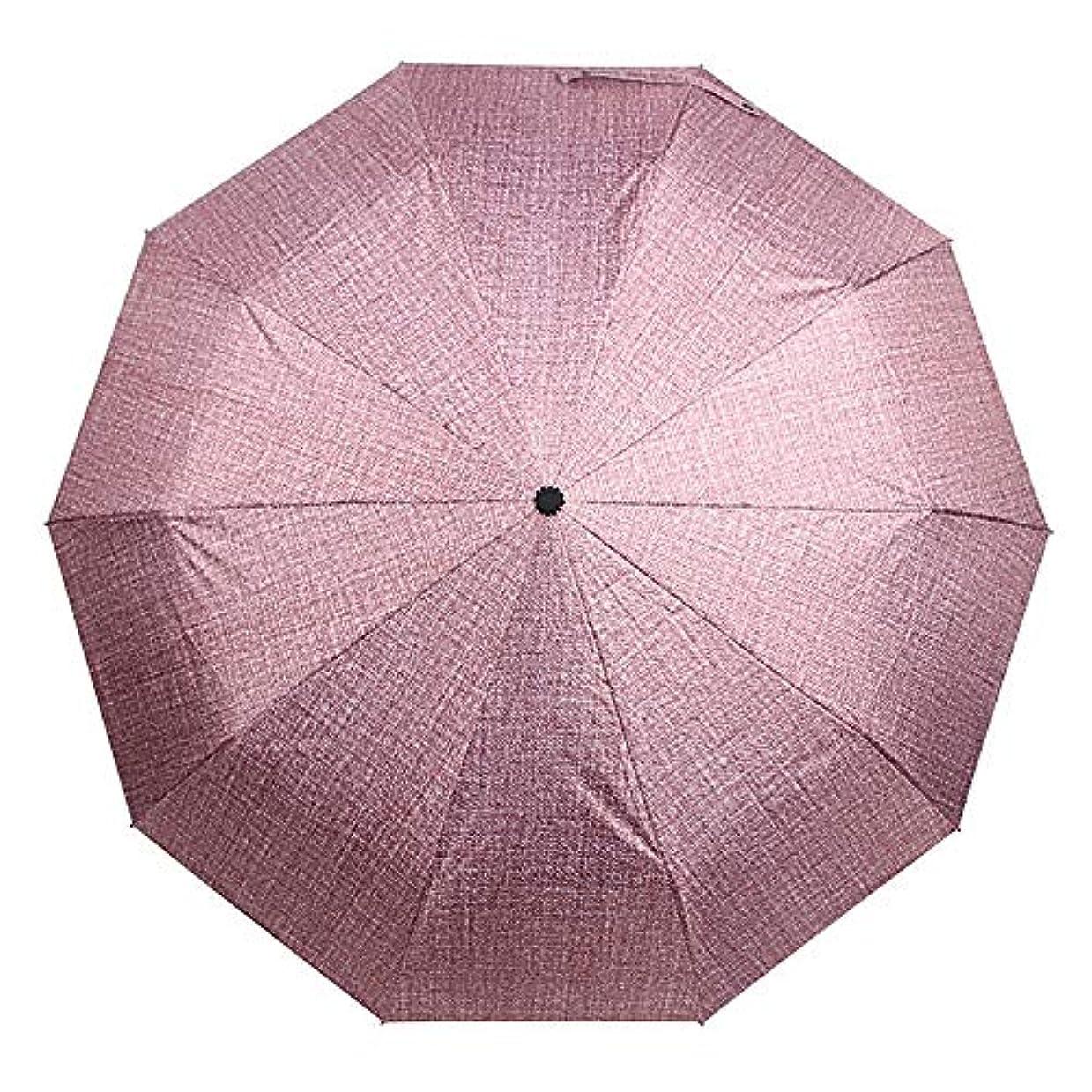 ナチュラコーチ頬骨傘を折るハンドルクリエイティブデニムブルートライ倍の日の傘自動ブラックシェーピング傘ハイグレードレトロレザー ポータブル防風強化日焼け止め傘 (Color : Pink, Size : 57cm*10K)