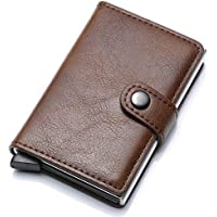 Munixi Credit Card Holder Leather Slim Wallet RFID Blocking Pop Up Aluminum Card Case High Capacity Credit Cards Wallet