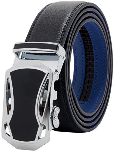 マックベルト ベルト メンズ 本革 ビジネス レザーベルト 穴無し オートロック式 サイズ調整可能 ロングサイズ 専用箱&説明書付 130cm ブラックブルー MBB-129bkl