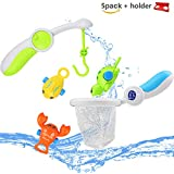 HAOXIN Bath Toys Fishing Floating Squirts Water Play Set with Sea Animals Fishing Net and Rod Funny Games in Bathtub Bathroom Pool Party Bath Time Safe Education Toys for Kids Toddler Baby Children.