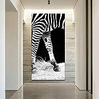 WZYDFH アートシマウマ写真キャンバス絵画ビッグサイズの壁のプリントポスターリビングルームブラックホワイト動物