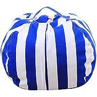 Demiawaking 収納袋 収納バッグ ぬいぐるみおもちゃ/衣類 多目的 仕上げ袋 ブルー S