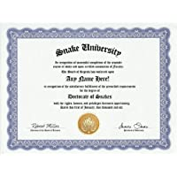 Snake Degree: Custom Gag Diploma Doctorate Certificate (Funny Customized Joke Gift - Novelty Item) by GD Novelty Items [並行輸入品]