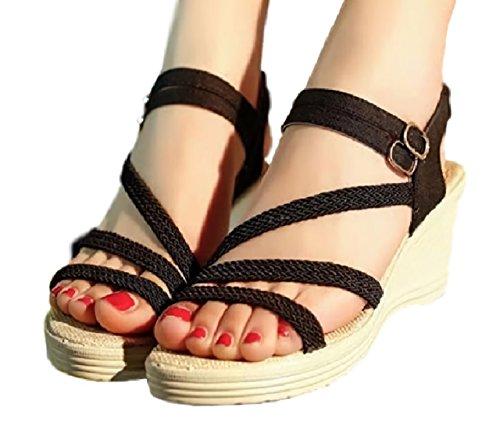 (ジルア)G-RUA レディース 7.0cm 厚底 サンダル 美脚 靴 アンクル ストラップ オープントゥ ウェッジソール #041 (25.0cm (40), ブラック)