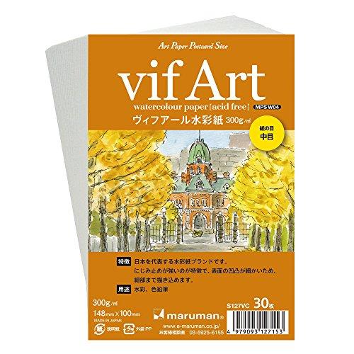 マルマン 絵手紙用ポストカード ヴィフアール中目 300g/平米 30枚 S127VC