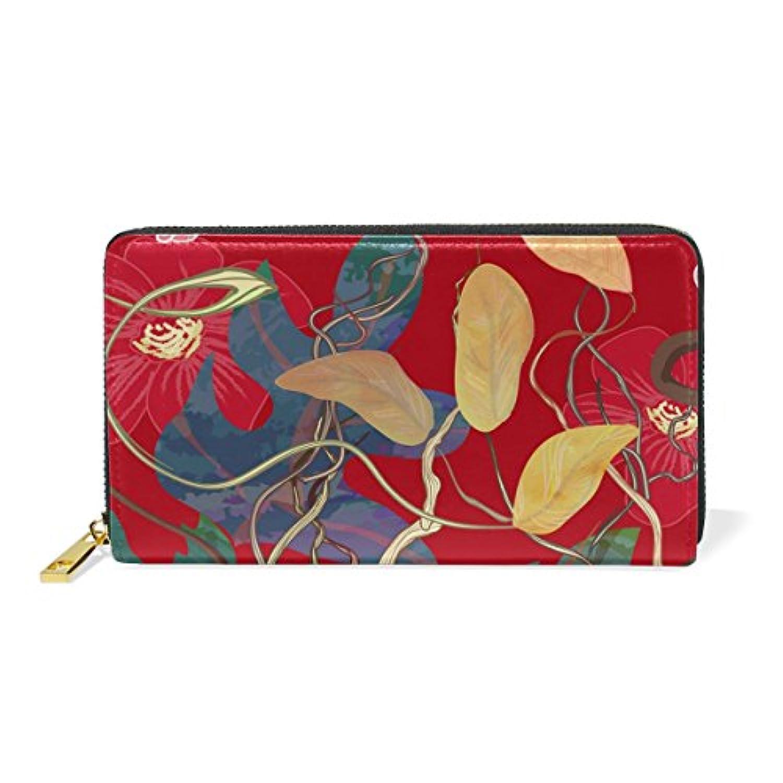 財布 レディース 長財布 大容量 かわいい 花柄 赤 レッド おしゃれ きれい 幾何学模様 ファスナー財布 ウォレット 薄型 本革 型押し 小銭入れ プレゼント用