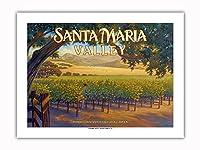 サンタ・マリア・バレー・ワイナリー - セントラルコーストAVAブドウ園 - カリフォルニアワインカントリーアート によって作成された カーン・エリクソン -プレミアム290gsmジークレーアートプリント - 46cm x 61cm