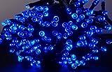 LED ソーラー イルミネーション 太陽発電 300球 点灯8パターン 防水 防雨 屋外 クリスマス イルミ 自動ON/OFF (ブルー)