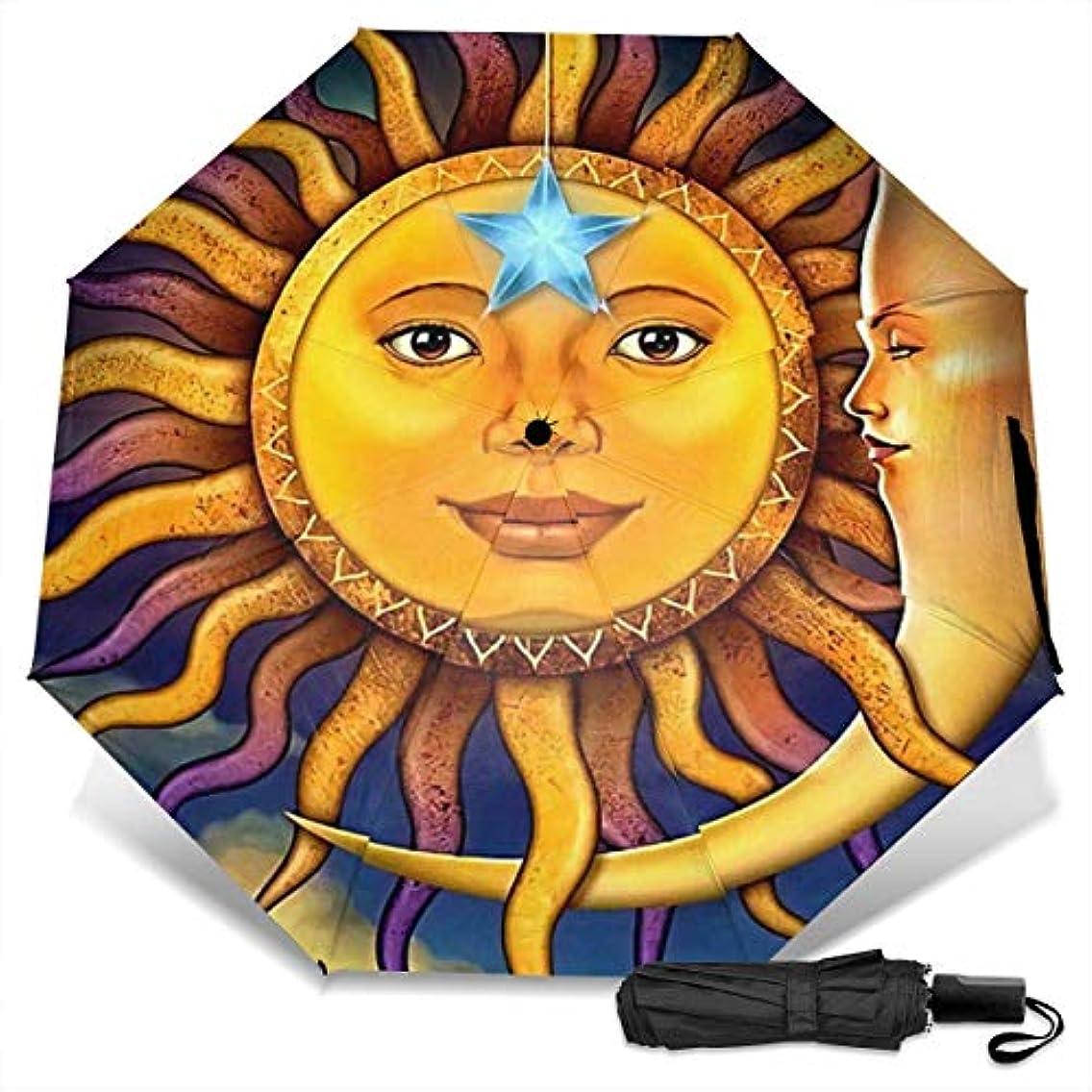 乗ってライブ適切な日月星の宇宙星雲01折りたたみ傘 軽量 手動三つ折り傘 日傘 耐風撥水 晴雨兼用 遮光遮熱 紫外線対策 携帯用かさ 出張旅行通勤 女性と男性用 (黒ゴム)