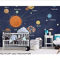Wuyyii 壁画壁紙漫画手描きスペース惑星宇宙子供の部屋の背景壁掛け壁紙用ウォール3D-200X140Cm