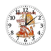 アイアンメイデン Iron Maiden イングランド ヘヴィメタル バンド ホームオフィスの学校のための円形の非カチカチの壁時計Dia25 cmの家の装飾的な卓上時計