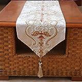 テーブルランナー/テーブルクロス/ロング装飾布/フリンジ付き/ディナー付き、結婚式、クリスマスパーティーデコレーション/刺繍入りフローラル/ディナーナプキン g (Color : Off White-, Size : 33×180cm)
