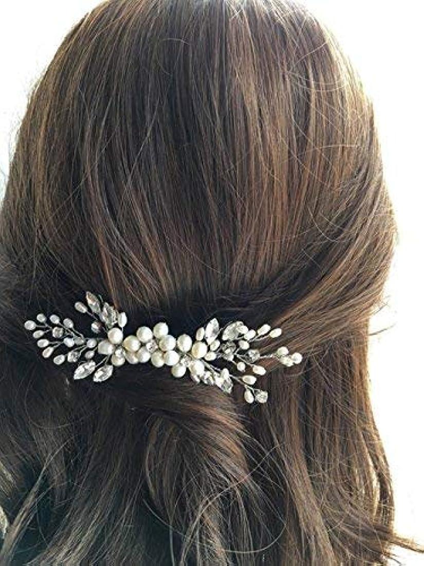 で出来ている魅力騒乱Jovono Bride Wedding Hair Comb Bridal Head Accessories Beaded Crystal Headpieces for Women and Girls (Silver)...