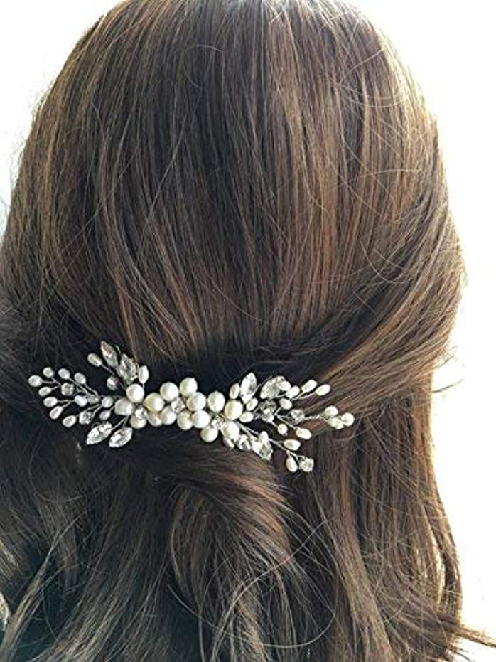 モードリンお肉人道的Jovono Bride Wedding Hair Comb Bridal Head Accessories Beaded Crystal Headpieces for Women and Girls (Silver)...