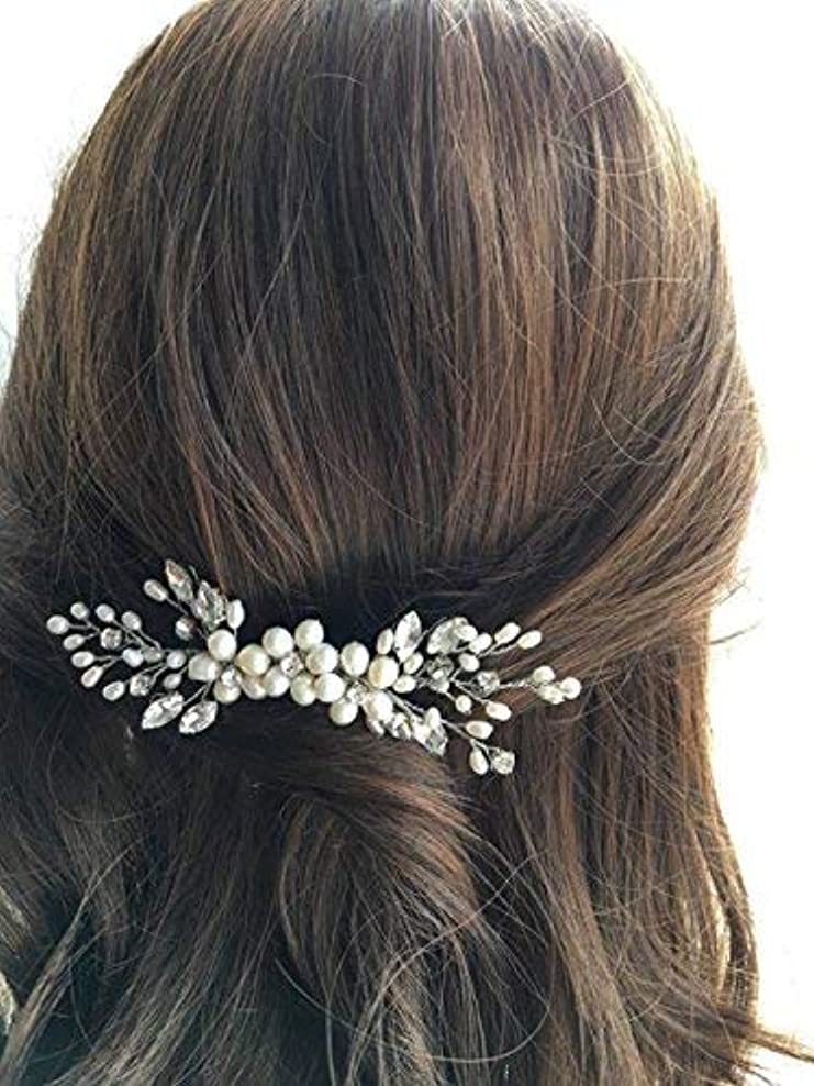 インゲン学習者やさしいJovono Bride Wedding Hair Comb Bridal Head Accessories Beaded Crystal Headpieces for Women and Girls (Silver)...