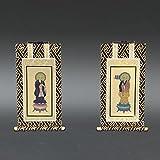 京仏壇はやし 掛軸 仏壇用 みやび 浄土宗 豆代 両脇 2枚セット ( 紺表装 ) ◆高さ 17cm 幅 9cm 【 掛け軸 】