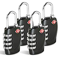 TSA Approved Luggage Combination Locks, TERSELY (4 Pack) 4 Digit Combination Padlock with Alloy Body TSA Lock for Travel Bag, Suit Case, Lockers, Gym, Bike Locks or Other