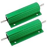 uxcell 巻線型抵抗器 ハイフラ防止抵抗  抵抗器 2本入り 100W 2 Ohm グリーン