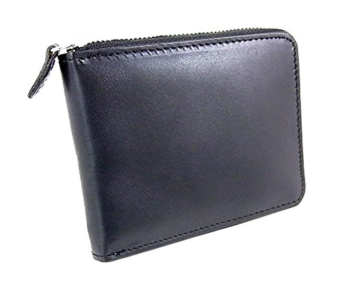 階層モロニック長老コインケース BN-2052 黒色 栃木レザー ラウンドファスナー 短財布 札入れ カード 小銭入れ